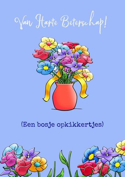 Leuk opkikkertje met geplukte bloemen voor de zieke 3