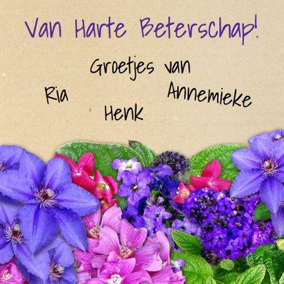 Leuke beterschapskaart bloemen met Hortensia's 3