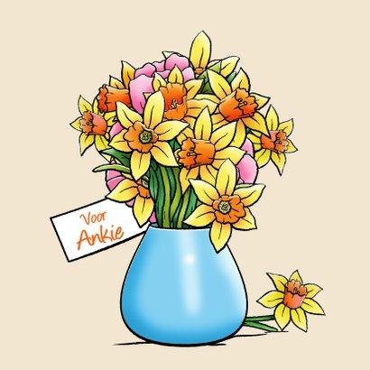 Leuke beterschapskaart met beertje en bloemen voor vrouw 3