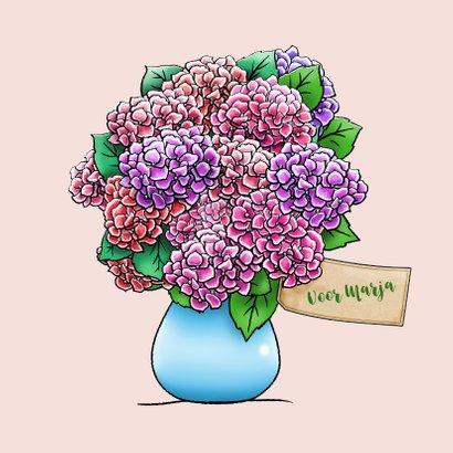 Leuke beterschapskaart met beertje en Hortensia 3