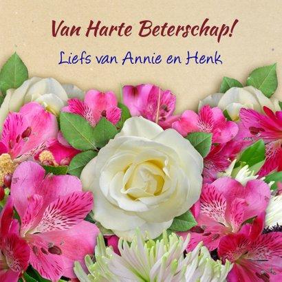 Leuke beterschapskaart met bos mooie bloemen 3