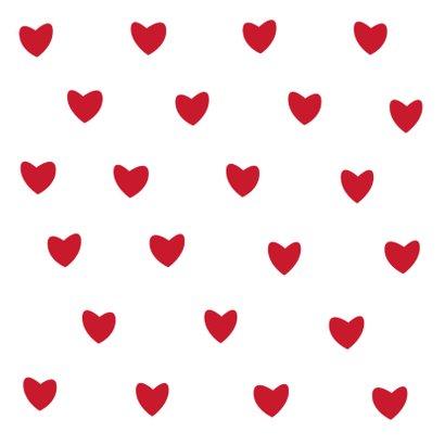 Leuke beterschapskaart witte hartjes op rode achtergrond 2