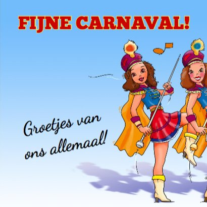 Leuke carnavalskaart met dansende majorettes 3