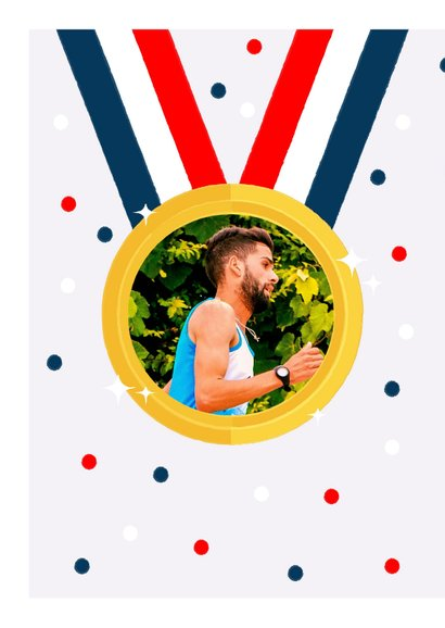 Leuke felicitatiekaart medaille, Nederlandse vlag en foto 2