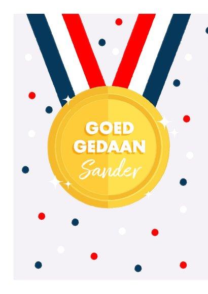Leuke felicitatiekaart met medaille en Nederlandse vlag 2