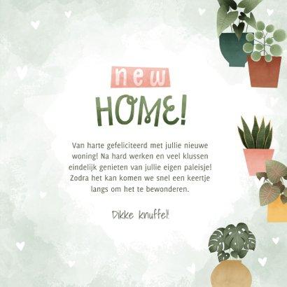 Leuke felicitatiekaart new home met plantjes en hartjes 3