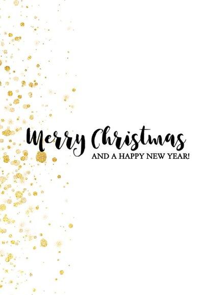 Leuke foto kerstkaart met gouden spetters en typografie 2