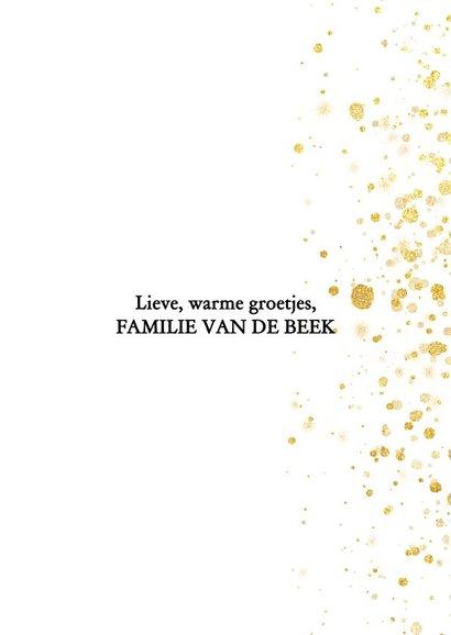 Leuke foto kerstkaart met gouden spetters en typografie 3