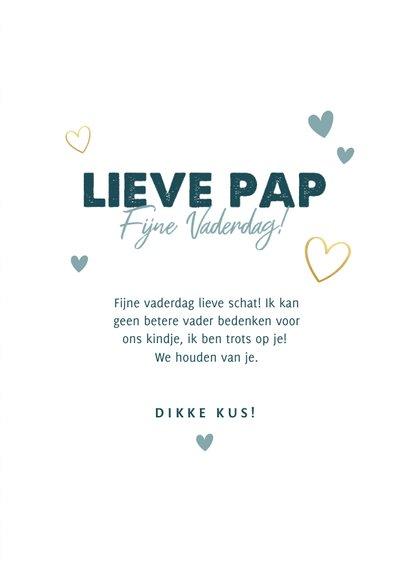 Leuke fotokaart vaderdag 'lieve pap fijne vaderdag' hartjes 3