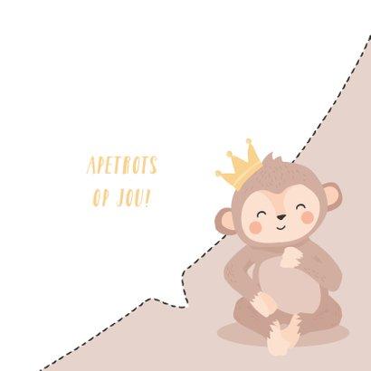 Leuke kaart met getekend gezicht van een aap 'apetrots' 3