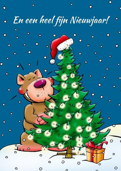 Leuke kerstkaart met beertje, die schommelt kerstverlichting 3
