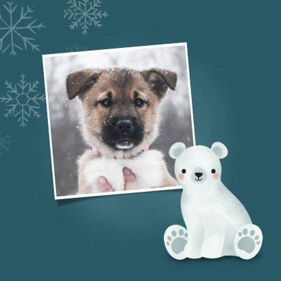 Leuke kerstkaart met foto, ijsbeertje en sneeuwvlokken 2