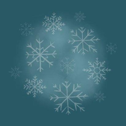 Leuke kerstkaart met foto, ijsbeertje en sneeuwvlokken Achterkant