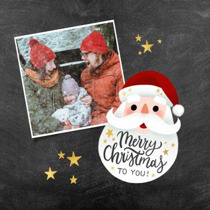 Leuke kerstkaart met kerstman, Merry Christmas en sterren 2