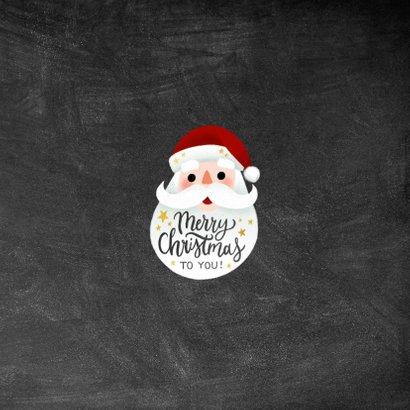 Leuke kerstkaart met kerstman, Merry Christmas en sterren Achterkant