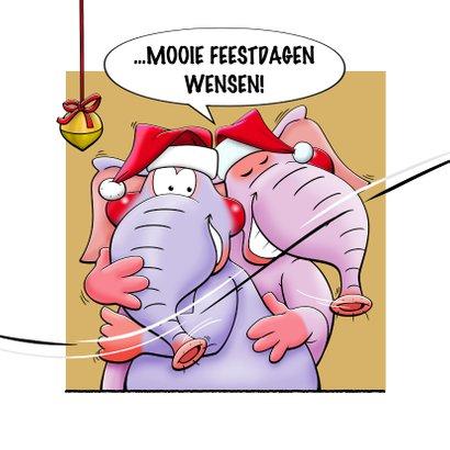 Leuke kerstkaart met olifanten, als stripverhaal. 2