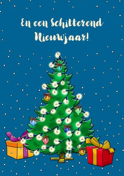 Leuke kerstkaart met versierd rendier kerstverlichting 3