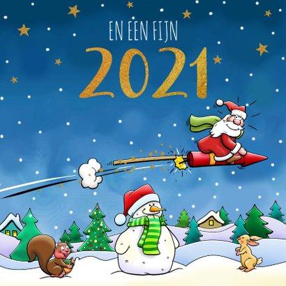 Leuke kerstkaart met vliegende arrenslee en kerstman 3