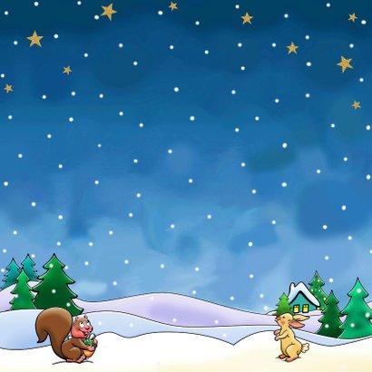 Leuke kerstkaart met vliegende arrenslee en kerstman Achterkant