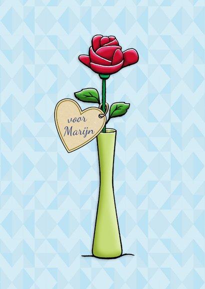 Leuke liefde kaart knuffelbeertje ondersteboven met roos 3