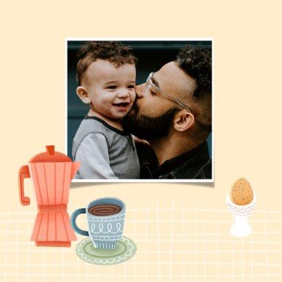 Leuke moederdag kaart met ontbijtje, bloemen en koffie 2