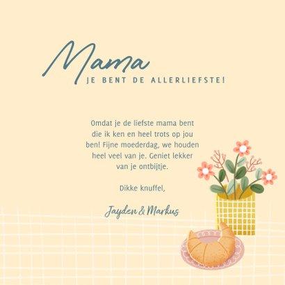 Leuke moederdag kaart met ontbijtje, bloemen en koffie 3
