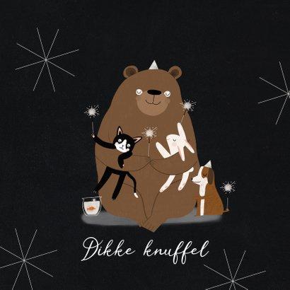 Leuke nieuwjaarskaart dikke knuffel dieren illustratie ster 2