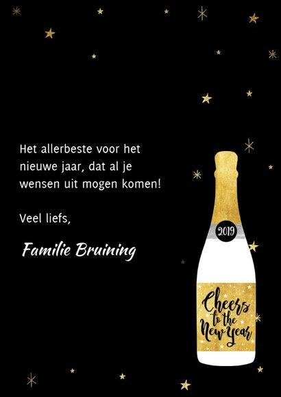 Leuke nieuwjaarskaart met champagnefles en foto's 3