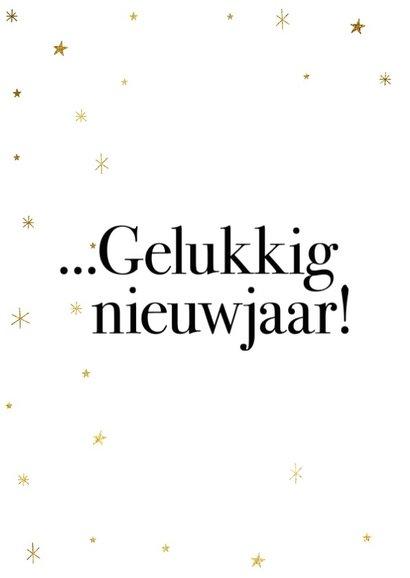 Leuke nieuwjaarskaart met typografie en gouden sterren 2