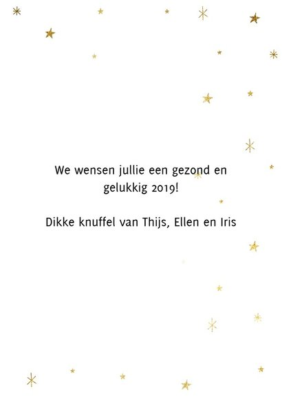 Leuke nieuwjaarskaart met typografie en gouden sterren 3