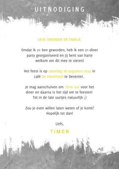 Leuke uitnodiging 21 diner met beton, verf en typografie 3