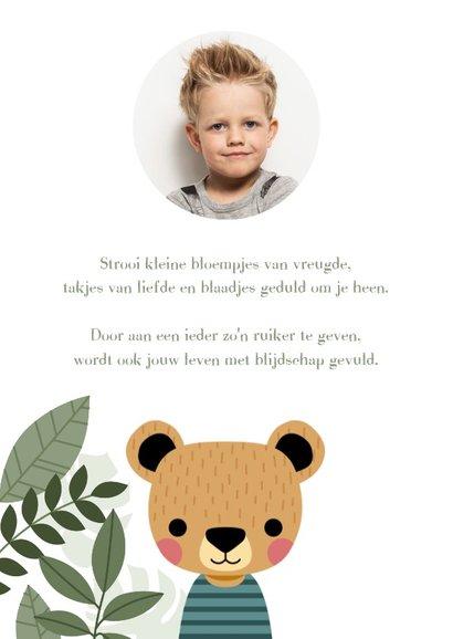 Leuke uitnodiging eerste communie met beer en plantjes 2