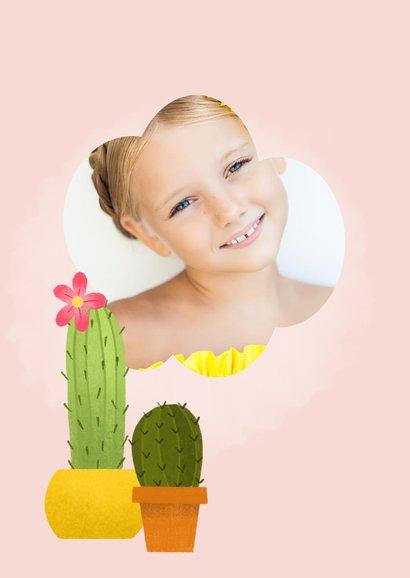 Leuke uitnodiging eerste communie met cactussen en waterverf 2