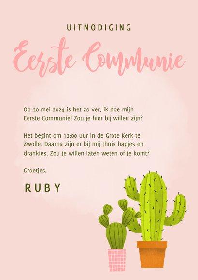 Leuke uitnodiging eerste communie met cactussen en waterverf 3