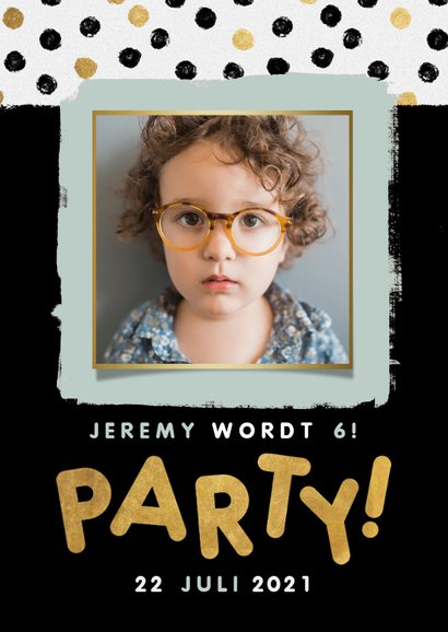 Leuke uitnodiging kinderfeestje met confetti, foto en party! 2