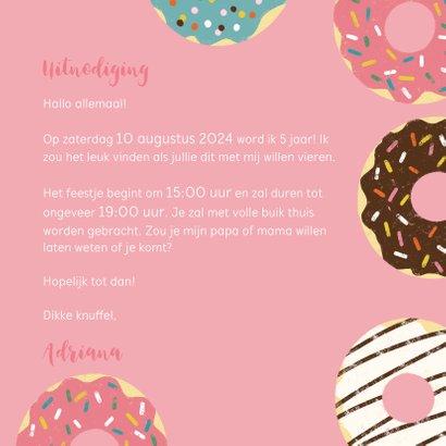 Leuke uitnodiging kinderfeestje met donuts en foto 3
