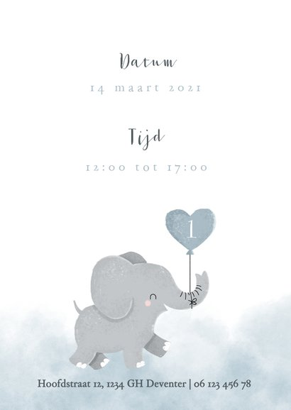 Leuke uitnodiging kinderfeestje voor tweeling met olifantje 2