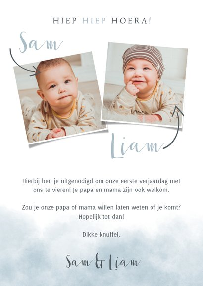 Leuke uitnodiging kinderfeestje voor tweeling met olifantje 3