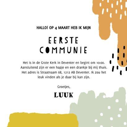 Leuke uitnodiging voor eerste communie met verfstreken 3