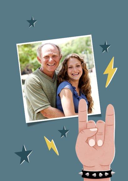 Leuke vaderdag kaart Dad you rock met bliksem en sterren 2
