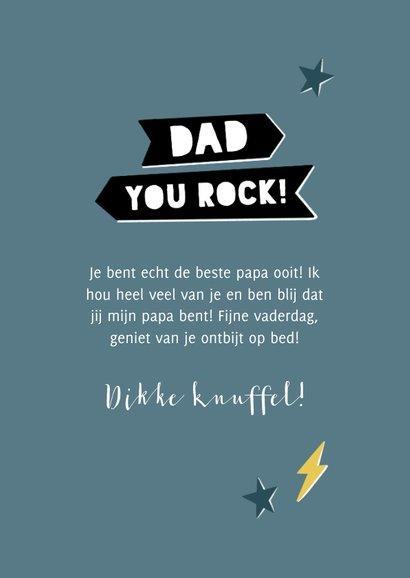 Leuke vaderdag kaart Dad you rock met bliksem en sterren 3