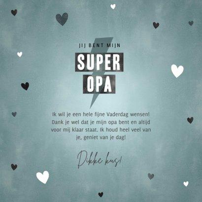 Leuke Vaderdag kaart voor je super opa met hartjes 3