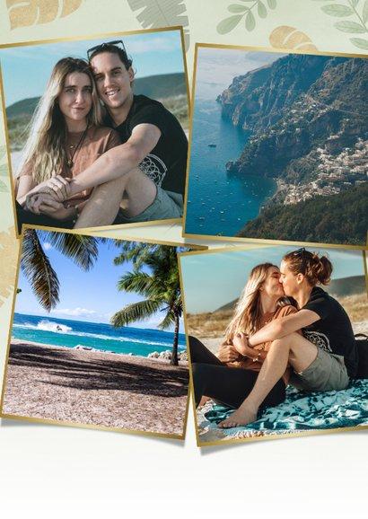 Leuke vakantiekaart met junglebladeren, foto en groetjes uit 2