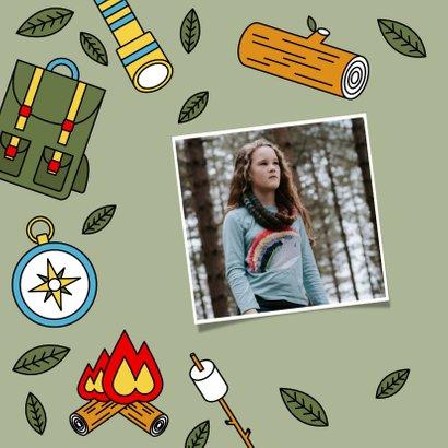 Leuke vakantiekaart 'veel plezier op kamp' kampeerspullen 2