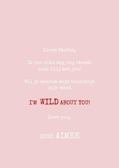 Leuke valentijnskaart met panter I'm wild about you & naam 3
