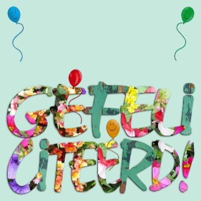 Leuke verjaardagskaart  Hiep Hiep Hoera op groen 3
