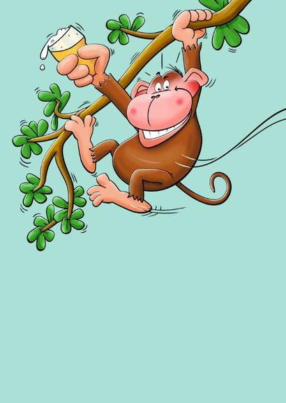 Leuke verjaardagskaart met aap en een biertje voor de jarige 2