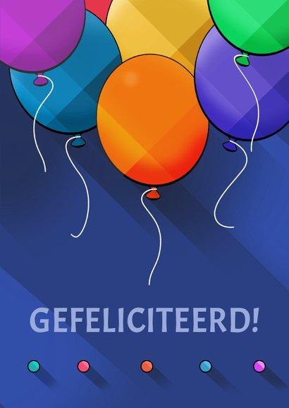 Leuke verjaardagskaart met ballonnen op blauw 3