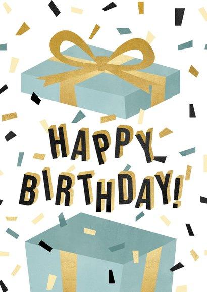 Leuke verjaardagskaart met cadeau, confetti en typografie 2