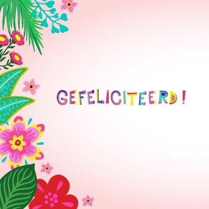 Leuke verjaardagskaart met flamingo, bloemen en planten 2